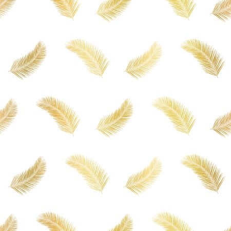 Gold foil palm leaf plants or feathers seamless vector pattern. Metallic golden elements on white background. Abstract floral repeating backdrop. Vector illustration for packaging, banners, wrapping Иллюстрация