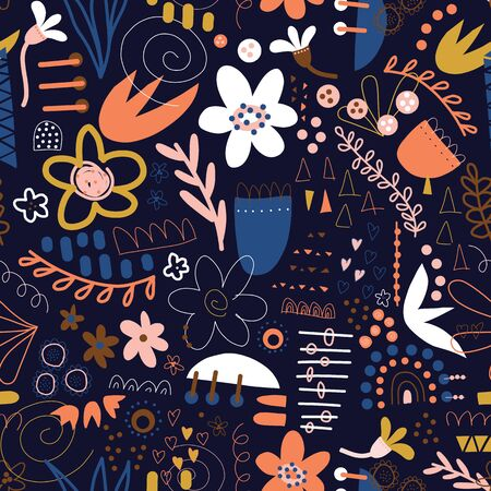 Seamless pattern doodle vector background abstract shapes collage blue white pink orange yellow. Modern design with flowers, hearts, elements for fabric, textile, wallpaper, postcards, kids decor Иллюстрация