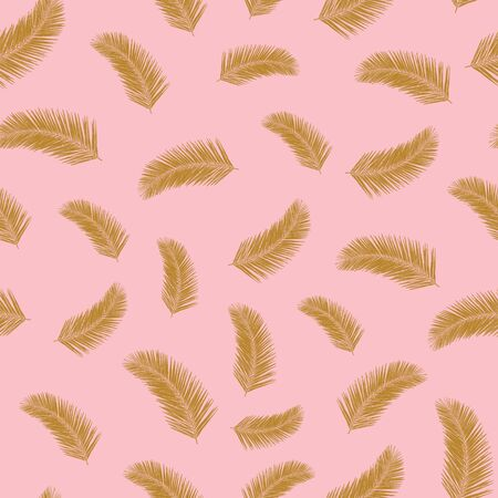 Tropical palm leaf plants seamless vector pattern. Golden exotic leaves on pink background. Abstract floral repeating backdrop. Vector illustration for fabric, packaging, banners, wrapping Иллюстрация