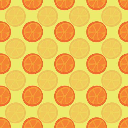 Orange halves seamless vector pattern. Citrus slices on yellow background. Repeating orange grapefruit tangerine backdrop. Use for summer fabric, decor Çizim