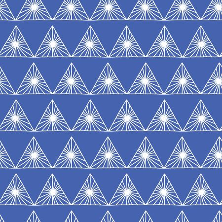 Geometric Seamless Pattern in Tribal Style in blue and white. Repeating triangle background. Hand drawn abstract backdrop for fabric, packaging, wrapping, banners, surface pattern design