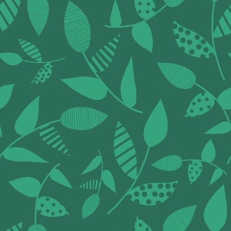 Green abstract leaves seamless vector background. Hand drawn leaf nature pattern. Repeating foliage backdrop. Use for fabric, surface pattern design, wallpaper, wrapping