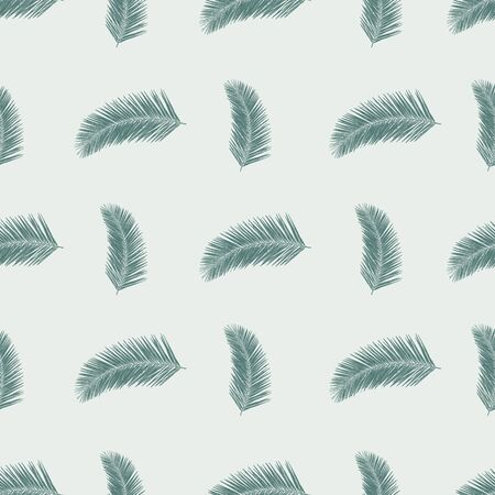 Subtle Green abstract fern leaves seamless vector background. Hand drawn leaf nature pattern. Repeating foliage backdrop. Use for fabric, surface pattern design, wallpaper, wrapping