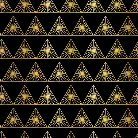 Geometric gold foil triangles seamless pattern. Tribal Style golden and black background. Repeating triangle pattern. Abstract backdrop for fabric, packaging, wrapping, banners, surface pattern design