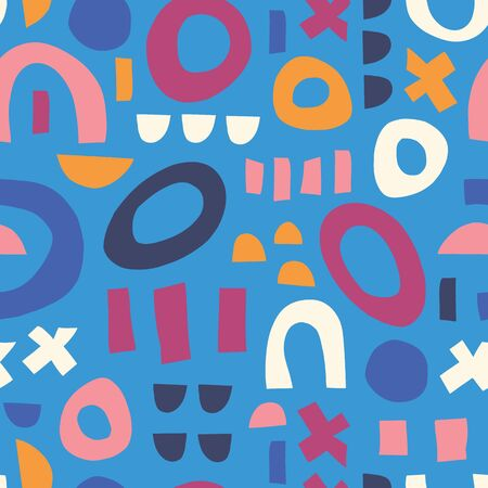 Abstract shapes blue pink orange white seamless vector kids pattern. Contemporary geometric elements puzzle mosaic background. Modern happy children print. Use for kids decor, fabric, packaging