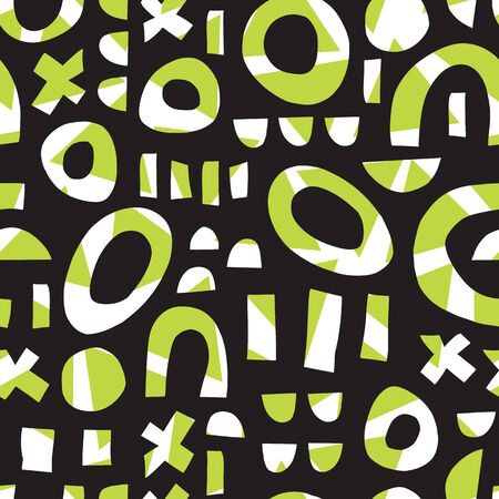 Contemporary geometric shapes seamless vector pattern. Modern abstract elements multi layer puzzle mosaic background green white black. Use for kids decor, fabric, packaging , surface pattern design
