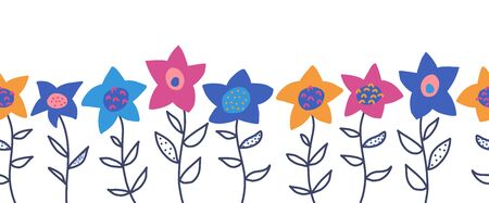 Doodle flowers seamless vector border. Cute florals and leaves pattern blue pink yellow orange. Hand drawn repeating flower meadow design for greeting cards, surface decoration, ribbons, fabric trim