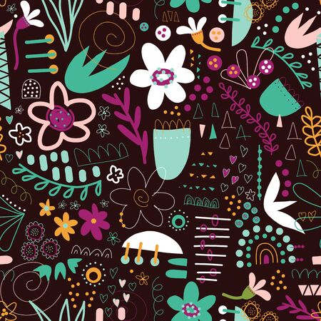 Seamless doodle vector background abstract shapes collage black white teal purple yellow. Modern pattern design with flowers, hearts, elements for fabric, textile, wallpaper, postcards, kids decor