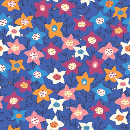 Hand drawn vector flower field orange purple white blue pattern. Seamless floral background. Summer or spring nature design. Use for fabric, kids wear, wrapping, surface pattern decor