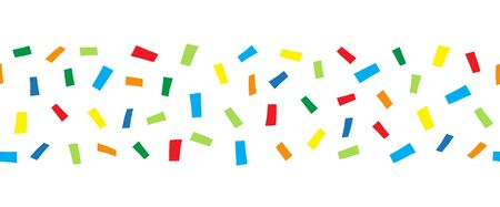 Seamless horizontal border doodle confetti. Vector pattern abstract colorful blocks illustration. Ribbon trim. Red blue yellow green repeating elements. For kids wear, cards, children decor, banner