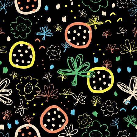 Seamless doodle vector background abstract shapes collage black white blue green yellow orange. Modern pattern design with flowers, leaves for fabric, kids wear, wallpaper, cards