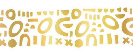 Gold foil seamless vector border abstract shapes pattern. Repeating contemporary geometric elements golden on white puzzle mosaic banner. Unique elegant border for decor, ribbons , banners