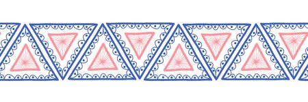 Triangles seamless vector border. Boho style pattern hand drawn tribal ethnic motifs pink blue. Geometric repeating background. Triangle shape repeat tile for banners, card, fabric trim, ribbons.