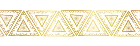 Gold foil triangles seamless vector border. Boho style pattern hand drawn tribal ethnic motifs. Geometric repeating background. Triangle shape repeat tile for elegant banners, cards, party invitations Иллюстрация