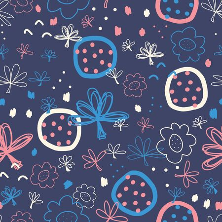 Abstract Seamless doodle vector pattern. Hand drawn shapes collage white blue pink. Modern pattern design with flowers, leaves, circles, dots. For fabric, kids wear, wallpaper, cards, surface design