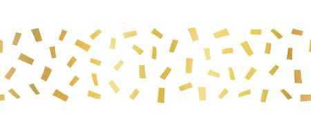 Gold foil confetti Seamless horizontal border. Geometric abstract vector pattern tile. Repeating banner design metallic golden texture. For cards, party invitation, packaging, surface design