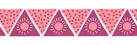 Boho style pink triangles seamless vector border. Hand drawn pattern tribal ethnic motifs pink. Geometric repeating background. Sun symbol. Triangle shape repeat tile for banners, card, fabric, ribbon Иллюстрация