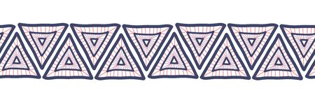 Hand drawn triangles seamless vector border. Boho style pattern tribal ethnic motifs. Geometric repeating background. Triangle shape repeat tile for banners, card, decor, fabric trim, ribbons. Иллюстрация