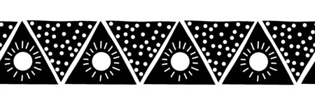 Monochrome seamless vector border triangles. Boho style pattern black and white hand drawn tribal ethnic motifs. Geometric repeating background. Triangle sun symbol shape repeat tile. Иллюстрация