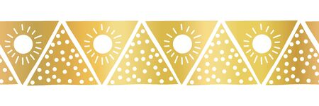 Seamless vector border gold foil triangles. Boho style pattern hand drawn tribal ethnic motifs. Geometric repeating background. Triangle shape repeat tile for elegant banners, cards, party invitations