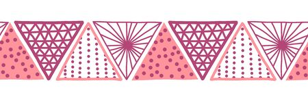 Seamless vector border pink triangles. Hand drawn Boho style pattern tribal ethnic motifs pink. Geometric repeating background. Sun symbol. Triangle shape repeat tile for banners, card, fabric, ribbon