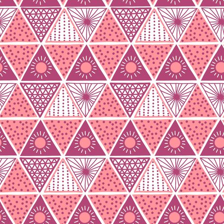 Boho style pink triangles seamless vector pattern. Hand drawn tribal ethnic motifs background. Geometric repeating backdrop. Sun symbol. Triangle shape repeat tile for fabric, wallpaper, packaging Иллюстрация