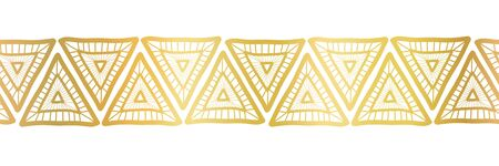 Golden triangles seamless vector border. Gold foil triangles. Boho style pattern hand drawn tribal ethnic motifs. Geometric repeat tile for elegant banners, cards, party invitations, divider, footer