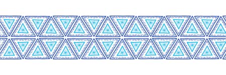 Triangles seamless vector border. Boho style pattern tribal ethnic motifs. Geometric repeating background. Triangle shape repeat tile for banners, footer, header, divider Иллюстрация