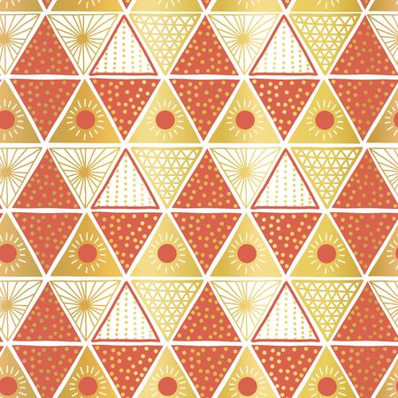 Golden orange white triangles seamless vector tribal pattern. Hand drawn Boho ethnic motifs background. Metallic gold foil geometric repeating backdrop. Sun symbol. Triangle shape repeat tile