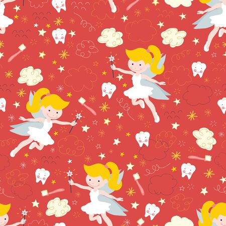 Tooth fairy seamless kids vector background. Cute fairies with wand, teeth, toothbrush, stars and clouds on red. Repeating pattern for kids dentistry, dental clinic, children fabric, decor Иллюстрация