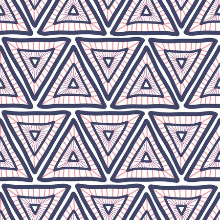 Seamless triangle background. Hand drawn Boho style pink and blue triangles repeating vector pattern. Ethnic tribal backdrop. Geometric shapes repeat tile for fabric, wallpaper, packaging Иллюстрация