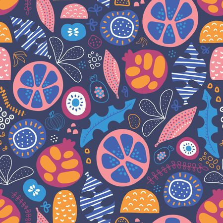 Abstract tropical floral fruit seamless vector pattern. Repeating background with stylized leaves, fruit halves and shapes. Blue, yellow, orange pink white summer design. Use for fabric, packaging