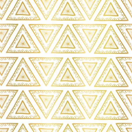 Gold foil triangles seamless vector background. Boho style pattern hand drawn tribal ethnic motifs. Geometric repeating background. Triangle shape repeat tile for elegant packaging, surface design Иллюстрация