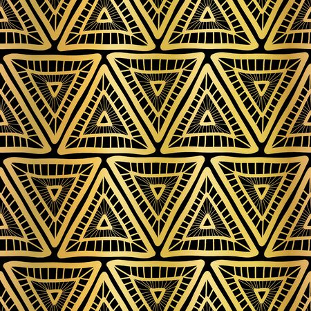 Golden triangle seamless vector pattern. Boho style triangles background. Tribal ethnic gold foil motifs on black. Geometric shapes repeating tile for packaging, decor, surface pattern design Иллюстрация