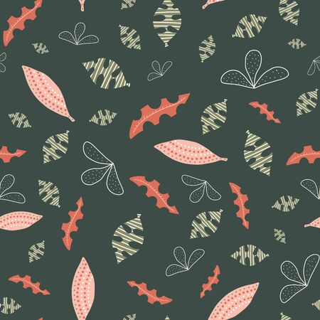 Abstract leaves green white pink orange seamless vector background. Hand drawn leaf nature pattern. Repeating foliage backdrop. Use for fabric, surface pattern design, wallpaper, wrapping Иллюстрация