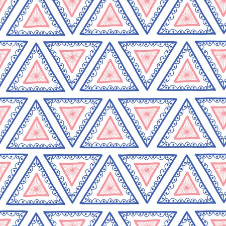 Geometric seamless hand drawn triangle background. Hand drawn Boho style pink and blue triangles repeating vector pattern. Ethnic tribal backdrop. Repeat tile for fabric, wallpaper, packaging Иллюстрация