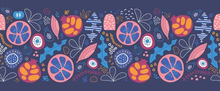 Seamless border abstract tropical leaves and fruit. Repeating pattern with stylized foliage fruit halves and shapes. Blue, yellow, orange pink white summer design. Use for banner, header, footer