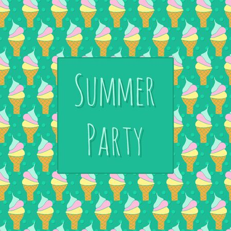 Summer party invitation template with ice cream cone and polka dot background. Retro style design. Vintage greeting card, invitation. Hand drawn.
