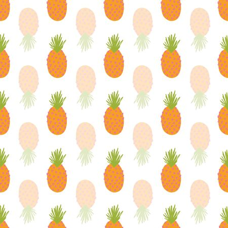 Pineapple repeating vector background. Abstract seamless summer pattern. Mirrored tropical pineapples on white. Hand drawn exotic fruit isolated in cartoon doodle style. For fabric, summer decor Ilustração
