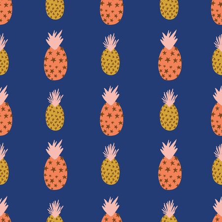 Abstract pineapples pink orange gold on blue seamless vector pattern. Repeating colorful tropical background. Hand drawn exotic fruit isolated in cartoon doodle style. For fabric, summer decoration