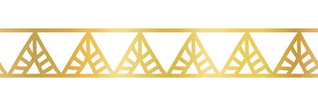 Gold foil triangles seamless vector border. Golden metallic triangle pattern. Hand drawn tribal ethnic motifs. Geometric repeat tile for elegant banners, cards, party invitations, divider, footer
