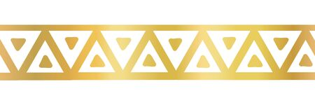 Geometric seamless vector border golden metallic triangles. Gold foil triangle repeating pattern. Hand drawn tribal ethnic motifs. Repeat tile for elegant banners, cards, party, divider, footer 일러스트