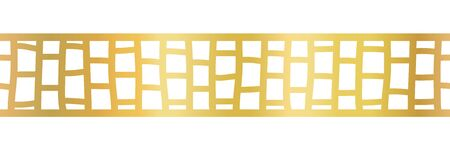 Geometric gold foil seamless vector border. Golden metallic abstract pattern. Hand drawn horizontal repeat tile for elegant decorations, banners, cards, party invitations, divider, footer 일러스트