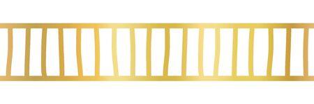 Seamless horizontal gold foil border. Vector pattern with stripes. Abstract hand drawn repeating geometric border. Elegant ribbon trim. Shiny metallic decoration.