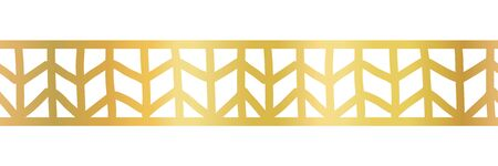 Geometric gold foil seamless vector border. Golden metallic abstract pattern. Hand drawn tribal ethnic motifs. Art Deco repeat tile for elegant banners, cards, party invitations, divider, footer