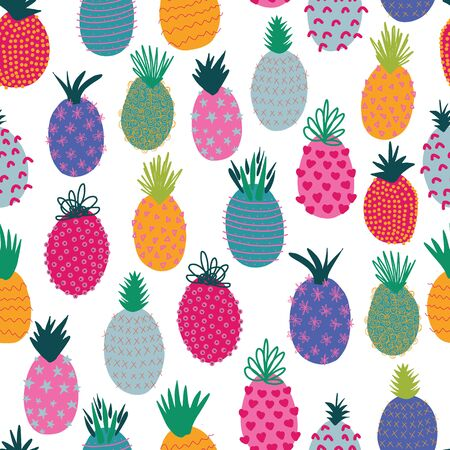 Pineapples abstract seamless vector summer pattern. Repeating colorful tropical background. Hand drawn exotic fruit isolated in cartoon doodle style. For fabric, summer decoration, packaging, kids