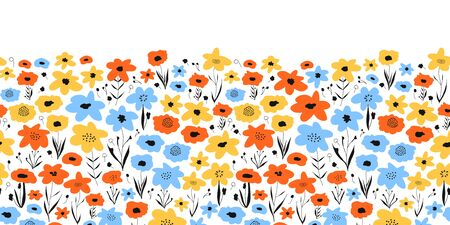 Ditsy flower field seamless vector border. Blue orange yellow black floral background. Repeating flower pattern. Summer or spring nature design. Use for fabric trim, kids wear, footer, card decor Stock Illustratie