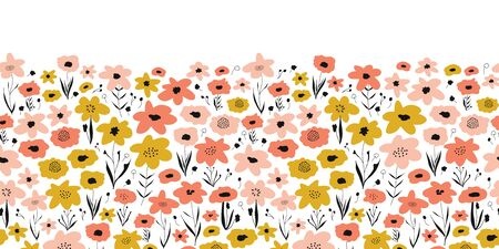 Spring flower meadow seamless vector border. Pink coral gold yellow white floral pattern. Repeating ditsy flower field. Summer or spring nature design. Use for fabric trim, kids wear, footer, cards Stock Illustratie