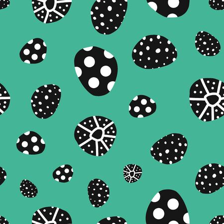 Abstract dot shapes with black and white texture on teal green seamless vector pattern. Repeating background. Modern hand drawn doodle backdrop for textile, fabric print, decor, packaging, kids