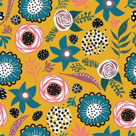 Abstract doodle flowers and leaves seamless vector pattern blue pink white black mustard yellow. Hand drawn flat florals background for fabric design, surface decoration, digital paper